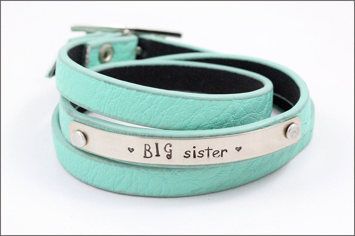 Custom Leather Wrap Girls Bracelet | Big Sister