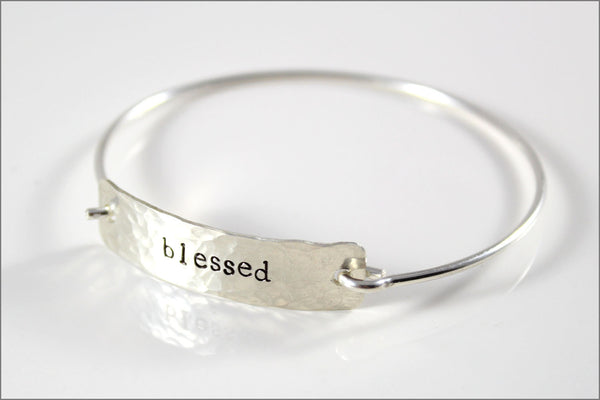 Inspiration Bracelet in Sterling Silver with Your Choice of Word | Women's Silver Cuff Bracelet