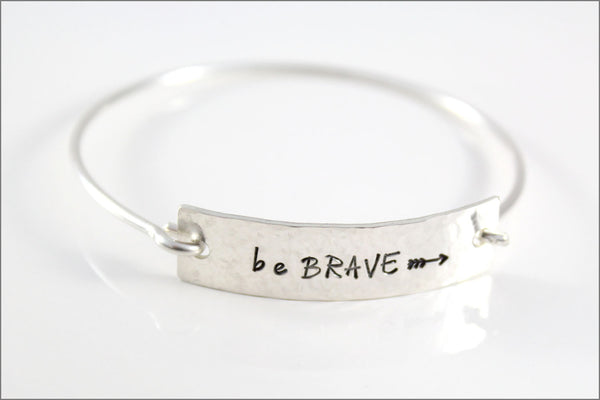 Personalized Silver Cuff Bracelet | Custom Silver Inspiration Bracelet, Be Brave Arrow Jewelry, Inspiration Gifts for Her