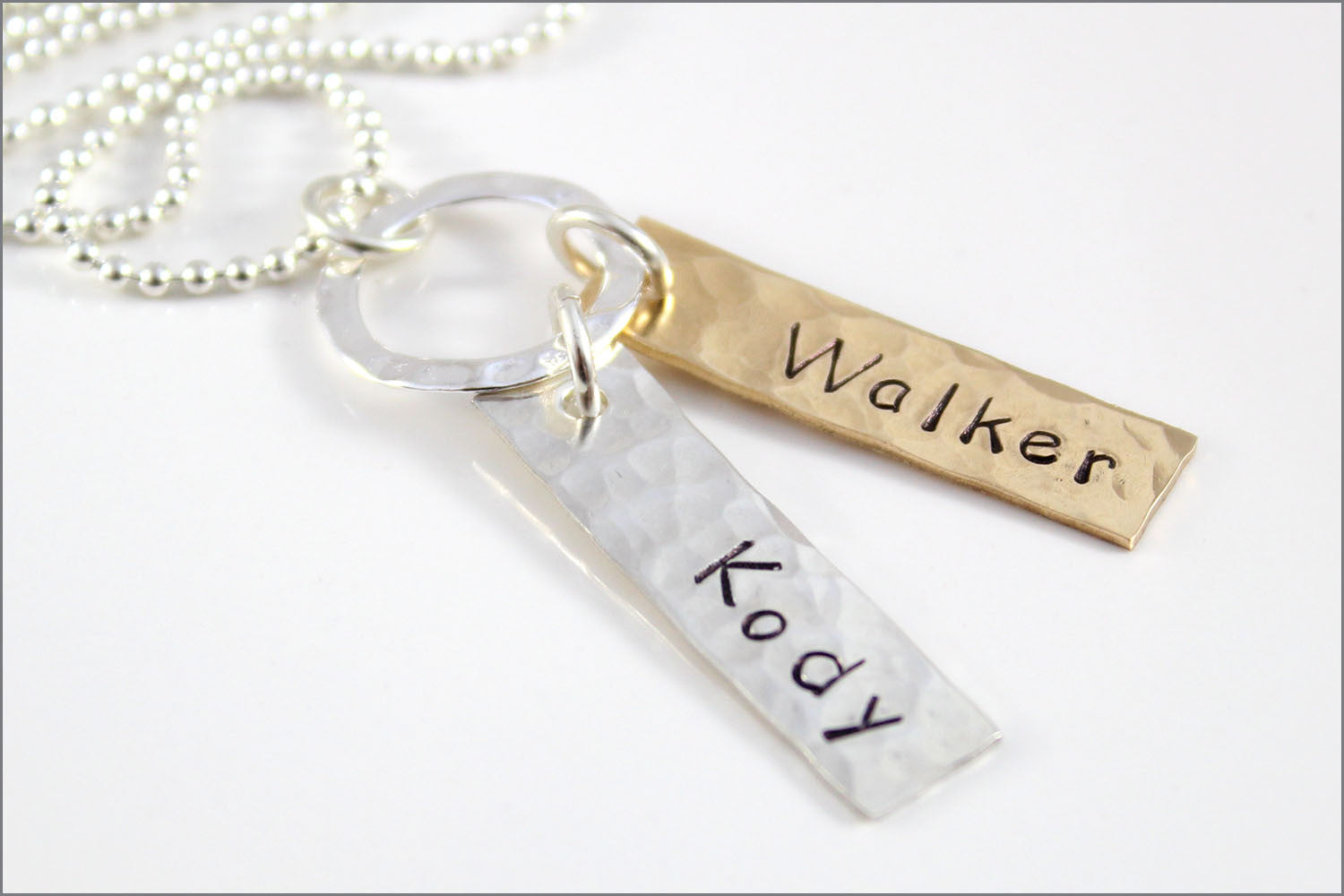 2 Tag Personalized Names Necklace | Sterling Silver & Bronze Necklace, Custom-Made Name Jewelry, Hand Stamped Necklace by aka originals