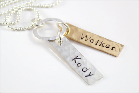 2 Tag Personalized Names Necklace in Sterling Silver & Bronze | Custom-Made Hand Stamped Jewelry by aka originals