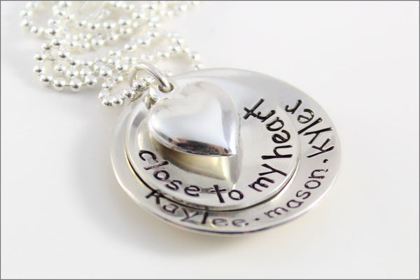 Personalized Mommy Necklace | 2 Stacked Close to My Heart Sterling Silver Necklace with Puffy Heart