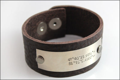 Custom Men's Leather Cuff Bracelet | Custom Coordinates Jewelry, Rugged Men's Accessories, Unique Gifts for Him, Special Gifts for Husband