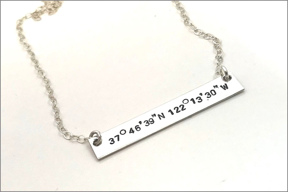 Custom Coordinate Bar Necklace | Sterling Silver Bar Necklace, Gold Bar Necklace, Coordinate Jewelry