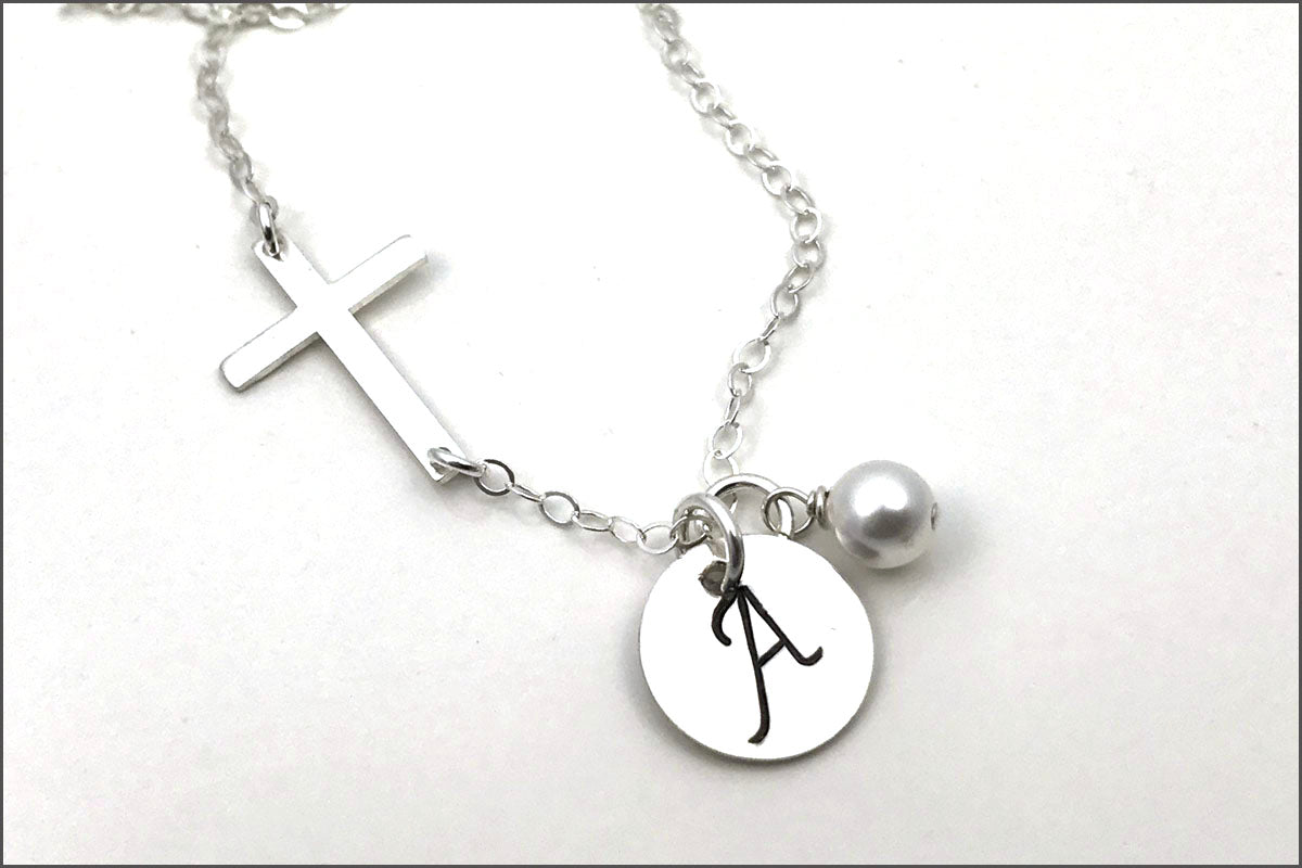 Personalized Initial Necklace with Cross Chain | First Communion Gift, Initial Cross Necklace, Confirmation Gift, Silver Cross Necklace
