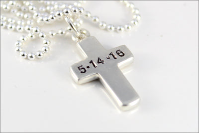Personalized Cross Necklace | Name or Date on Cross, Hand Stamped Cross Necklace, Confirmation or Baptism Gift, Silver Cross Necklace
