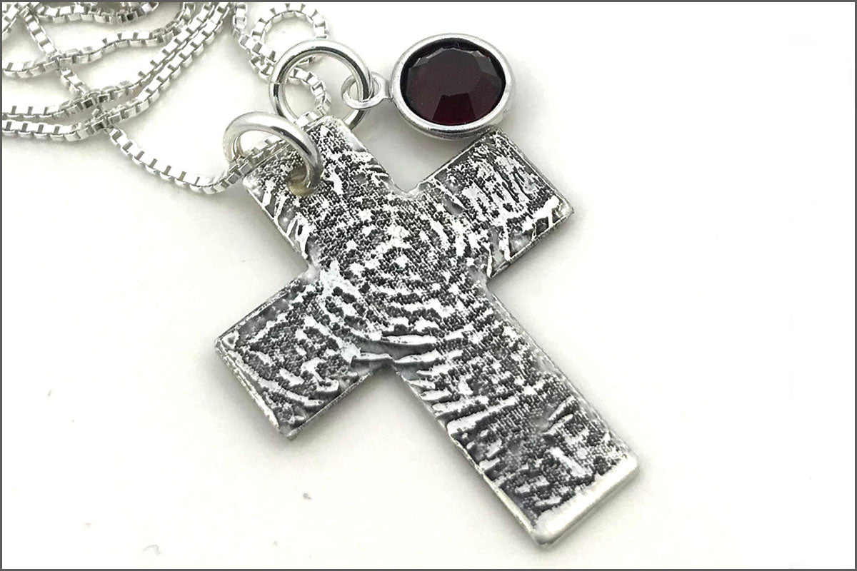 Custom Fingerprint or Thumbprint Cross Necklace
