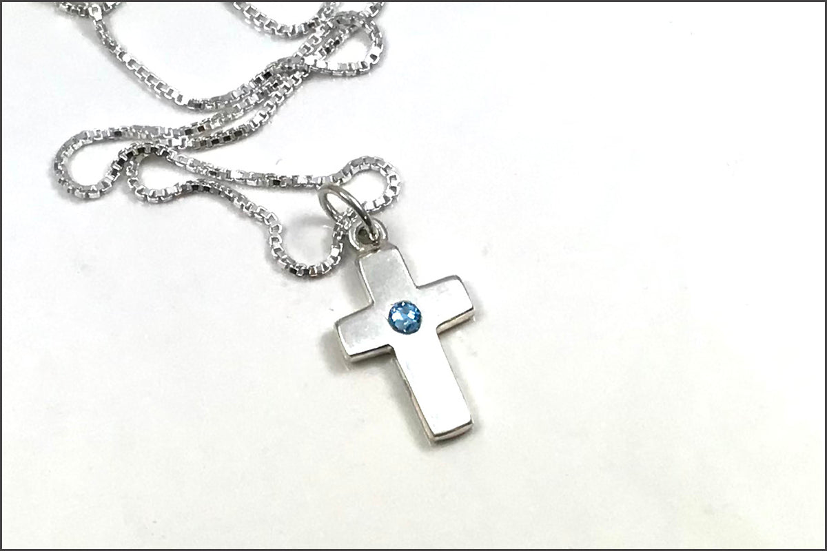 Cross Birthstone Necklace