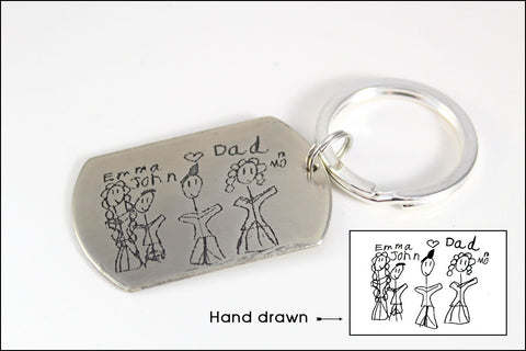 Children's Handrawn Etched Keychain with Actual Drawing or Handwriting | Message to Dad