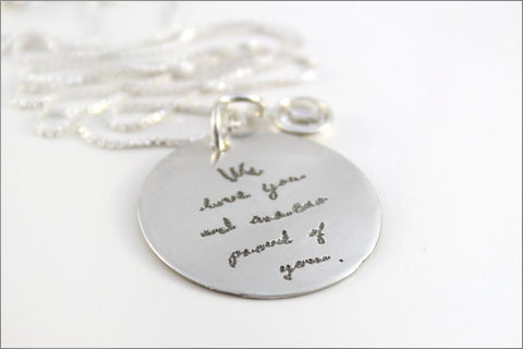 Custom Handwriting Necklace with Your Family's Writing | Sterling Silver Necklace, Remembrance Necklace