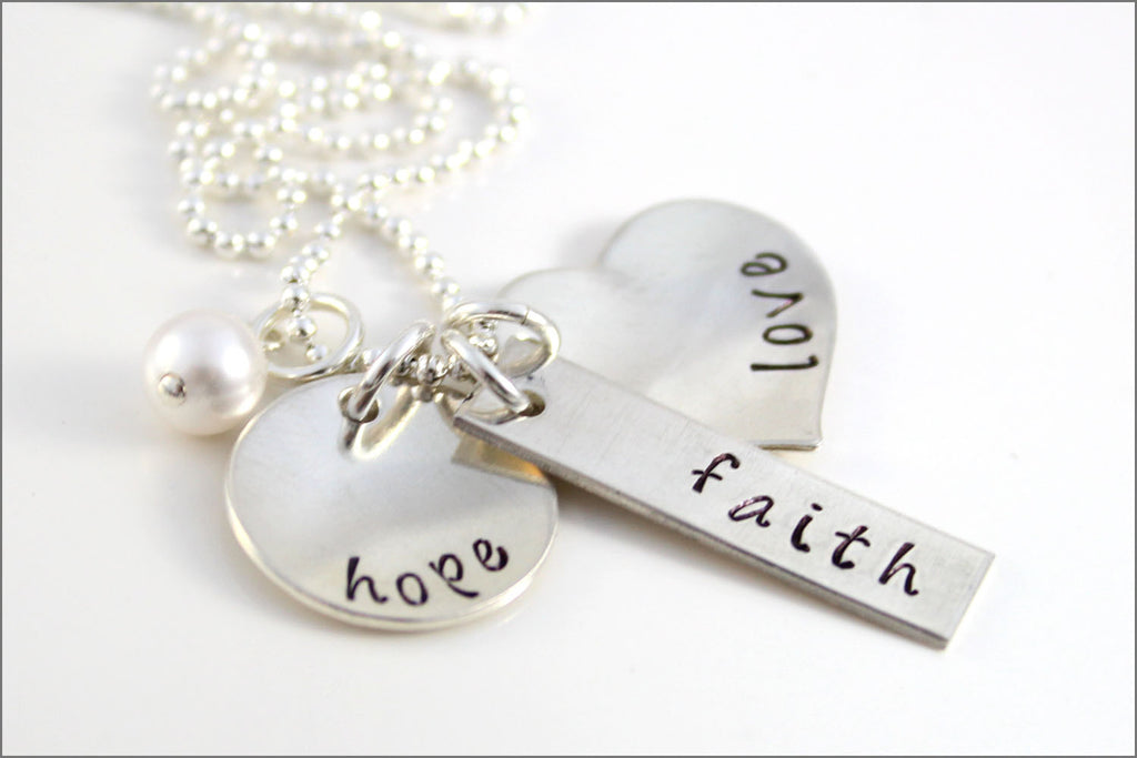 Faith hope love necklace sterling silver wedding jewelry faith hope love necklace sterling silver wedding jewelry gift for bride corinthians jewelry aloadofball Choice Image