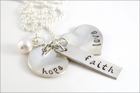 Faith, Hope, & Love Necklace | Sterling Silver Hand Stamped Wedding Jewelry | Gift for Bride