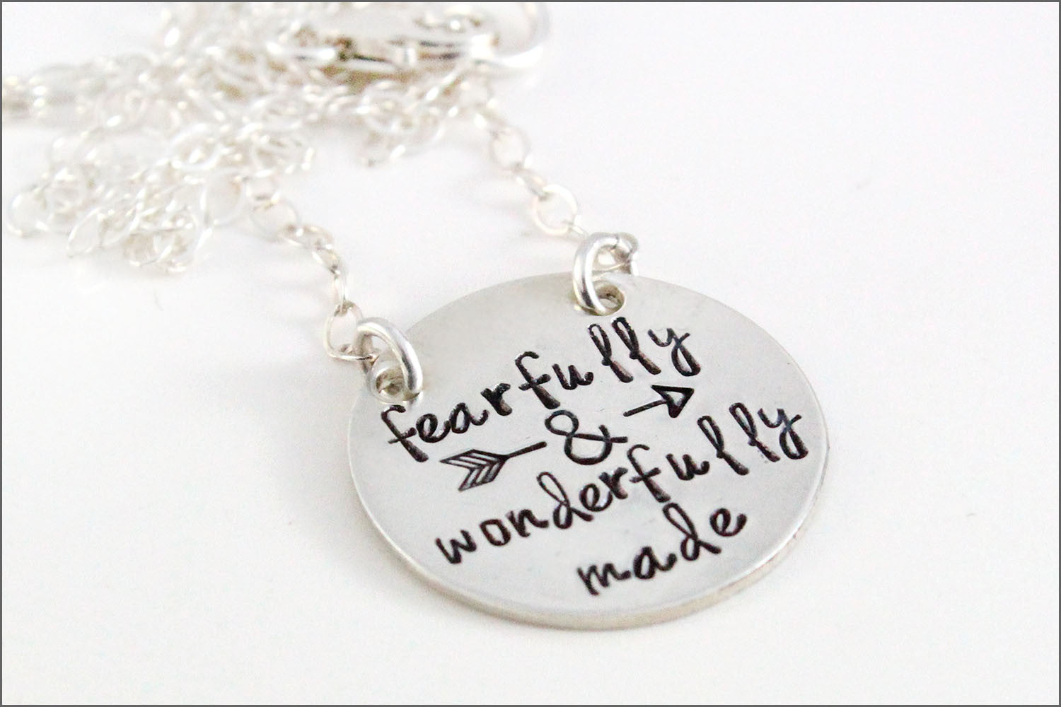 Fearfully & Wonderfully Made Sterling Silver Round Disc Necklace