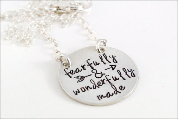 Fearfully & Wonderfully Made Sterling Silver Necklace | Sterling Silver Necklace, Silver Stamped Necklace, Inspiration Necklace