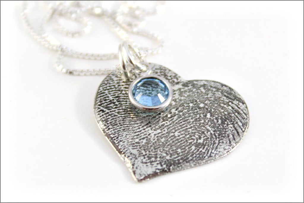 Custom Fingerprint or Thumbprint Heart Necklace