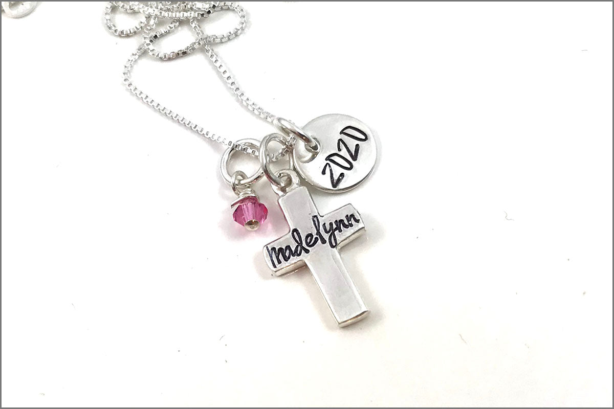 Personalized Cross Name Necklace & Year | First Communion Necklace