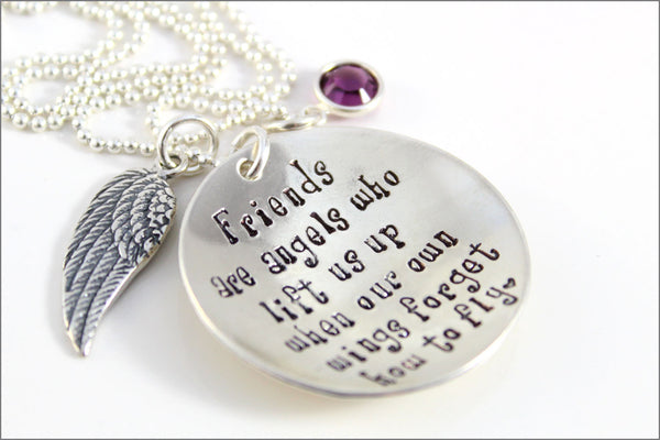 Friends are Angels Necklace | Sterling Silver Angel Wing Charm | Hand Stamped Jewelry | a.k.a. originals