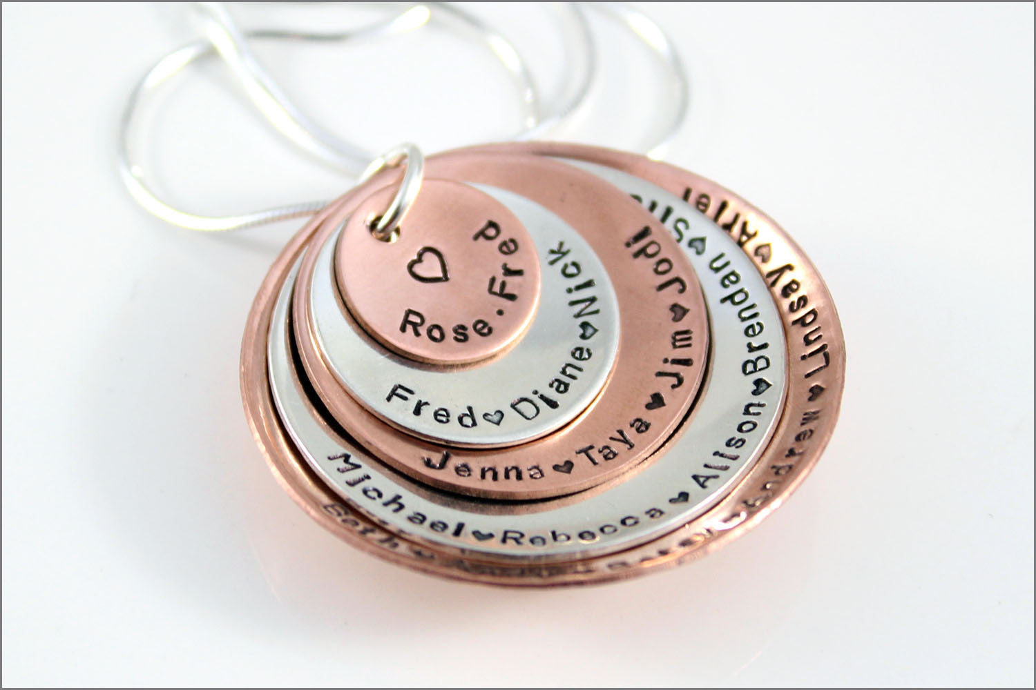Personalized Grandma Necklace | Silver & Copper Grandma Jewelry, Custom Generation Necklace, Special Gifts for Grandma