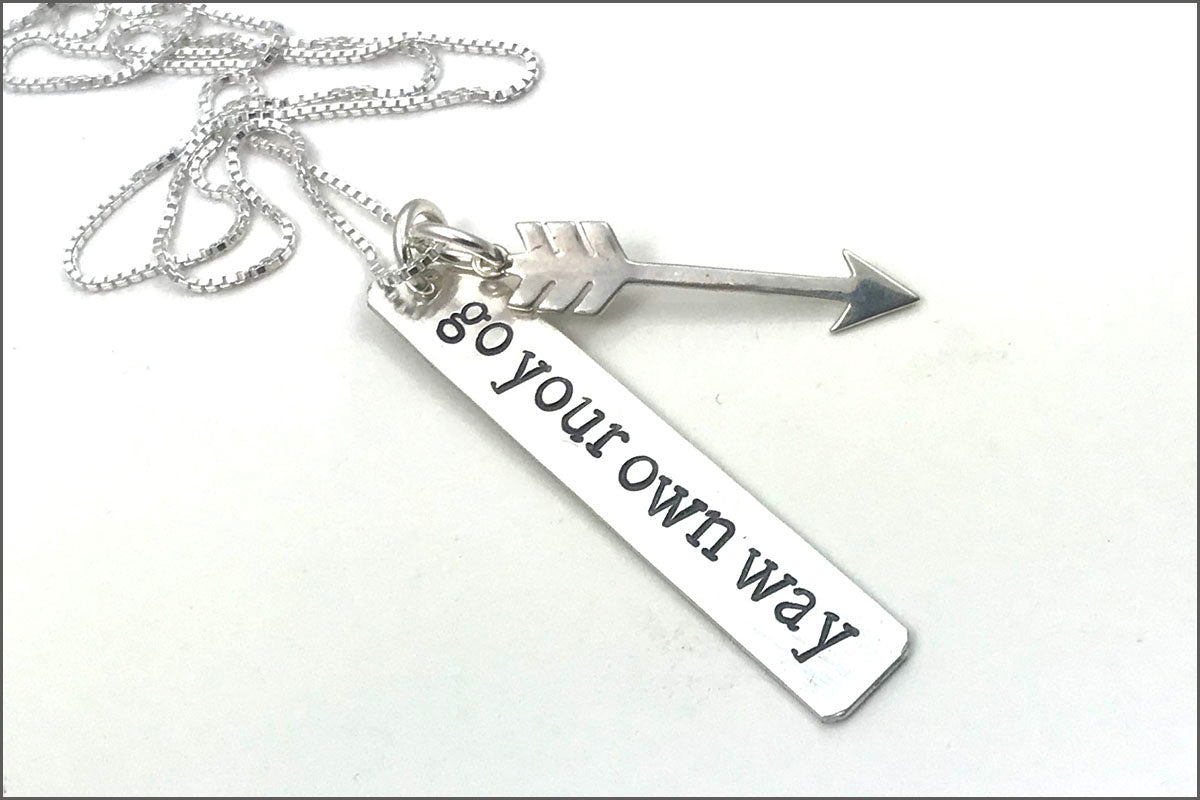 Silver Bar Necklace with Arrow Charm | Go Your Own Way