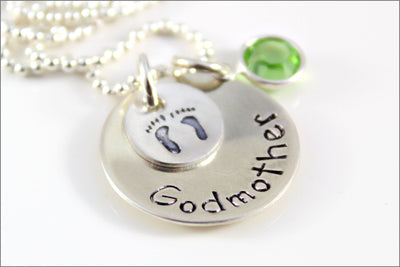 Personalized Godmother Necklace | Custom Birthstone, Baby Feet Charm, Sterling Silver Godmother Necklace, Gift Ideas for Godmother