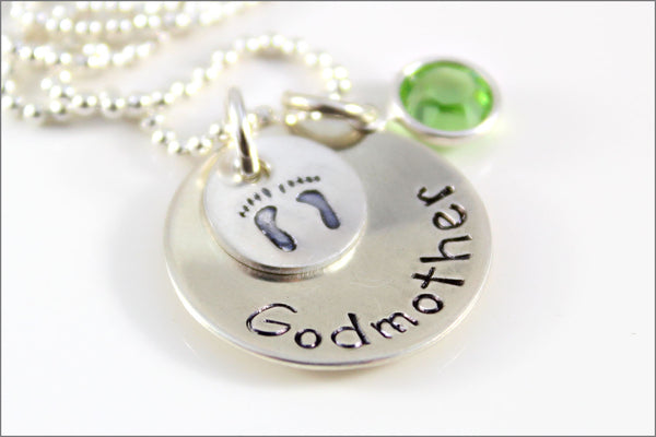 Personalized Godmother Necklace with Design Stamp & Birthstone | Sterling Silver Hand Stamped Jewelry