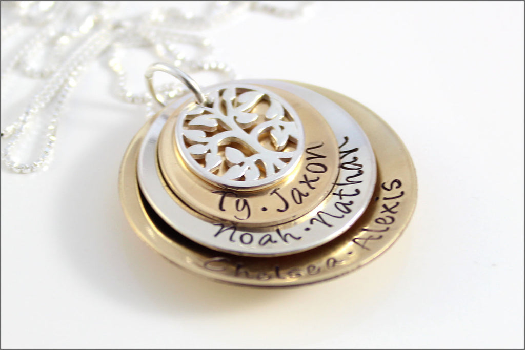 custom stacked gold silver necklace tree of life charm