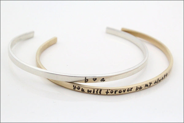 Custom Skinny Cuff Bracelet | Couples Initials, Custom Quote, Family Bracelet, Name Bracelet, Mommy Bracelet