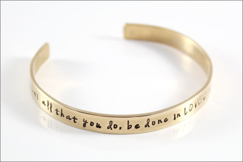 Custom Gold Cuff Bracelet | Mantra Bracelet, Inspiration Bracelet, Corinthians Quote Jewelry, Hand Stamped Bracelet, Gift for Her
