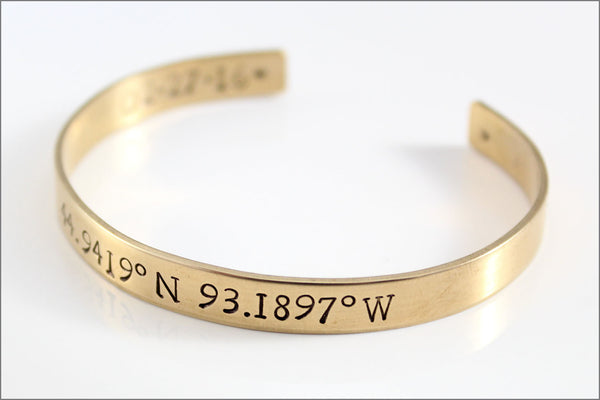 Custom Coordinates Bracelet | Latitude & Longitude, Location GPS Coordinates, Personalized Gold Cuff Bracelet, Bridesmaid Gift