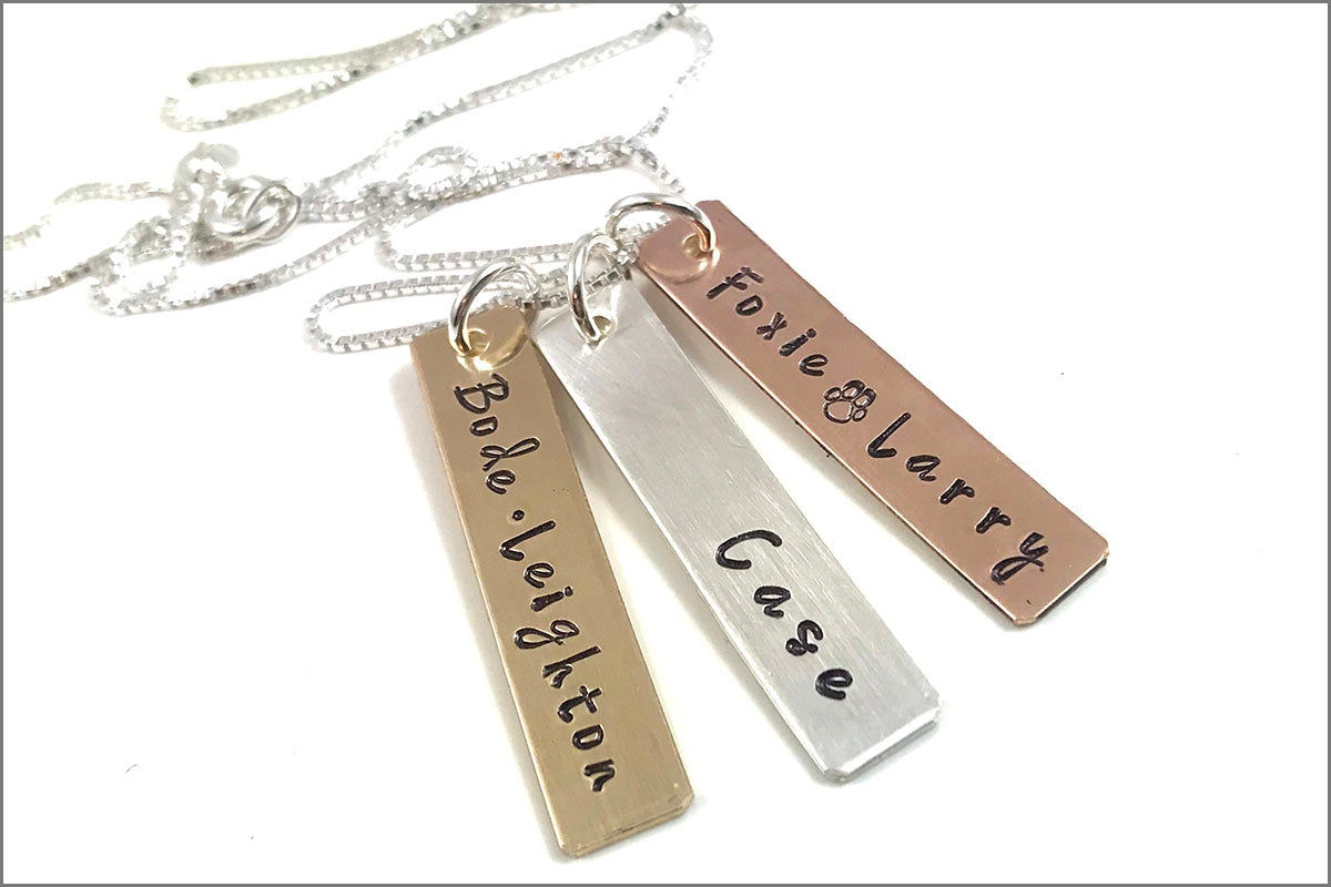 Mixed Metal Tag Necklace | Personalized Name Jewelry