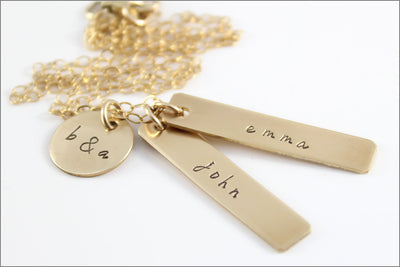 Personalized Family Tag Necklace with Initials | Sterling Silver, Rose Gold, or Gold Filled