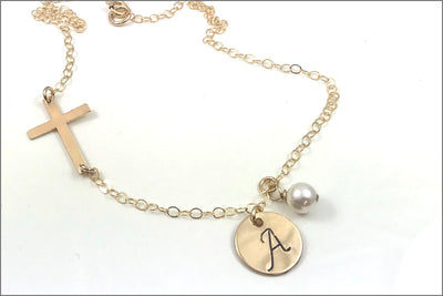 Personalized Initial Necklace with Cross Chain | Gold Cross Necklace, First Communion Gift, Initial Cross Necklace, Confirmation Gift