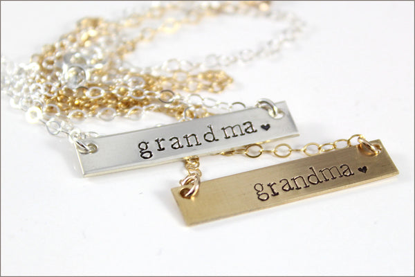 Gold Bar or Silver Bar Grandma Necklace | Horizontal Gold or Sterling Silver Tag Necklace, Simple Grandma Necklace, Gifts for Grandma