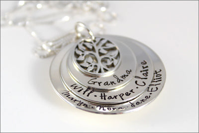 3 Disc Stacked Grandma Necklace with Tree of Life Charm | Personalized Grandma Necklace | Mother's Day Gift for Grandma