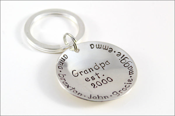 Grandpa's Established Keychain | Sterling Silver Personalized Grandpa Jewelry