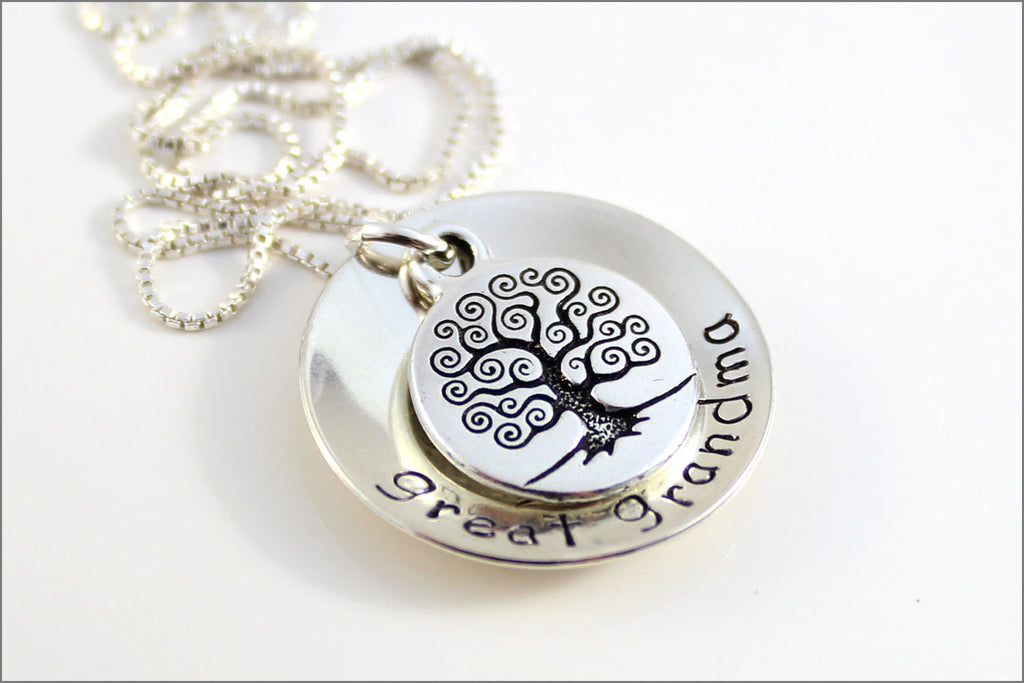 great grandma necklace with antique silver tree of life charm