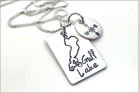 Wear Your Lake | Custom Lake Necklace, Choose Your Lake, Sterling Silver Lake Necklace, Lake Jewelry