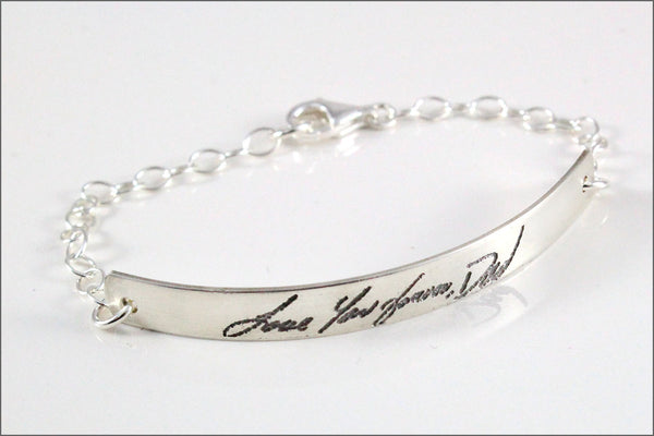 Custom Sterling Silver Handwriting Bracelet | Signature Bracelet, Message Bracelet, Remembrance Bracelet