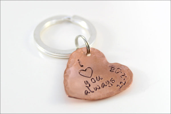I Heart You Copper Heart Keychain with Wedding Date | Personalized Anniversary Gift | Couples Accessories