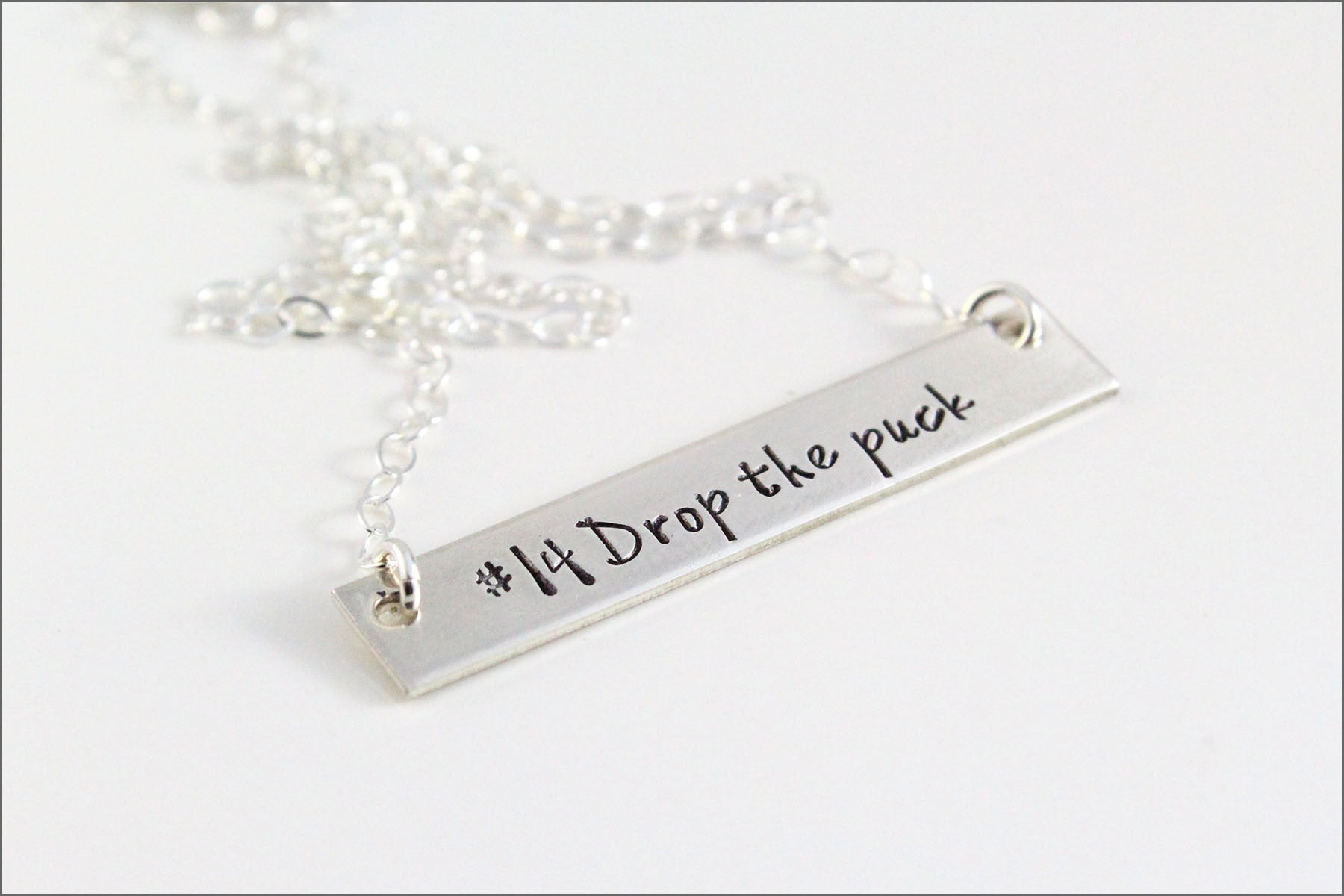 Hockey Player Bar Necklace | Sterling Silver Necklace, Silver Bar Necklace, Hockey Mom Necklace, Sports Mom Necklace, Drop the Puck