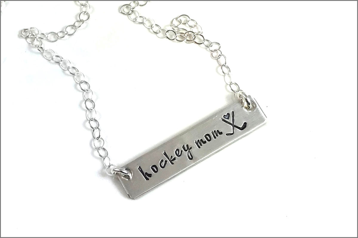 Hockey Mom Bar Necklace | Hockey Sticks