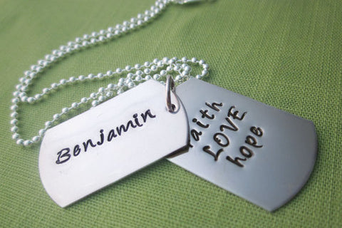 Customized Double Dog Tag Necklace | Faith Hope & Love with Name | Sterling Silver Men's Jewelry