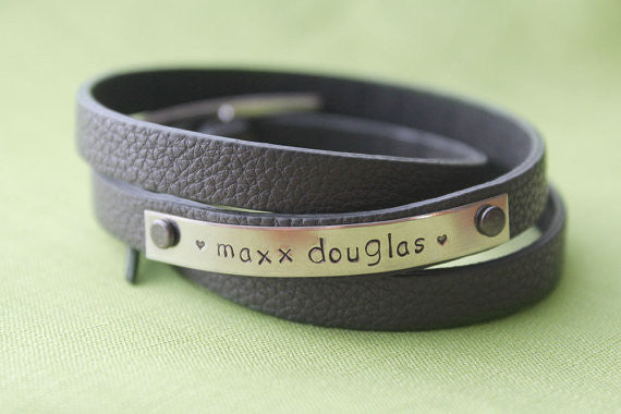 Personalized Leather Wrap Mommy Bracelet | Custom Name Bracelet
