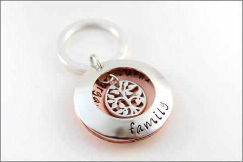 Hand Stamped Grandma Keychain in Sterling Silver & Copper | Tree of Life Locket Keychain with Grandchildren's Names