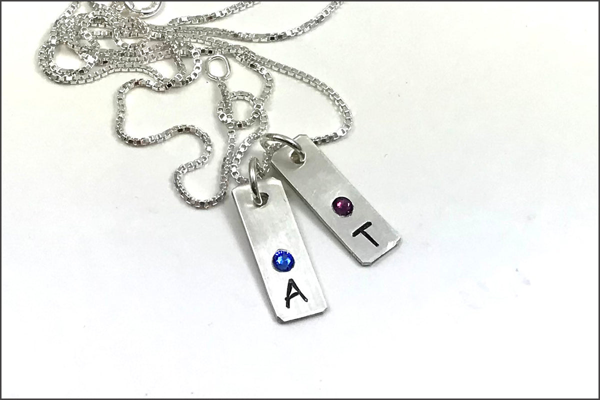 Initial Tag Necklace with Birthstones