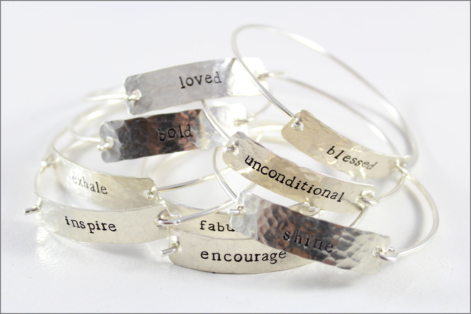 Custom Word Inspiration Bracelet in Sterling Silver | One Word Silver Cuff Bracelet