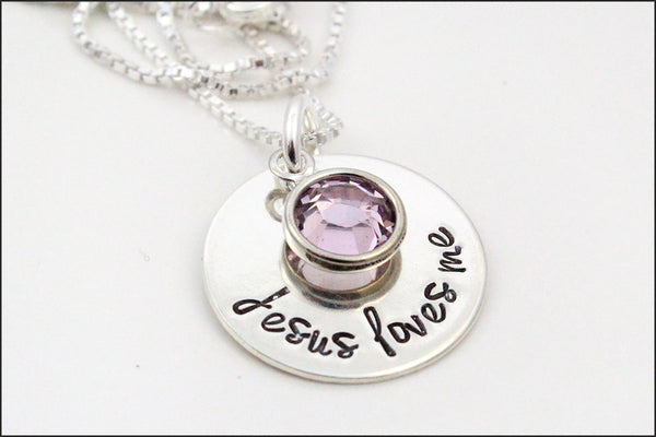Jesus Loves Me Birthstone Necklace Little Girl Necklace