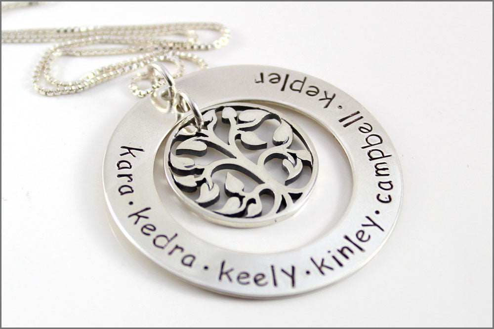 the sterling pendant views engraved necklace name silver more family tree