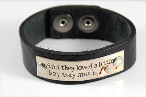 Customized Leather Bracelet with Mustache | and They Loved a Little Boy Very Much, Boy Mom Gift, Hand Stamped Bracelet, Gifts for Mom of Boy