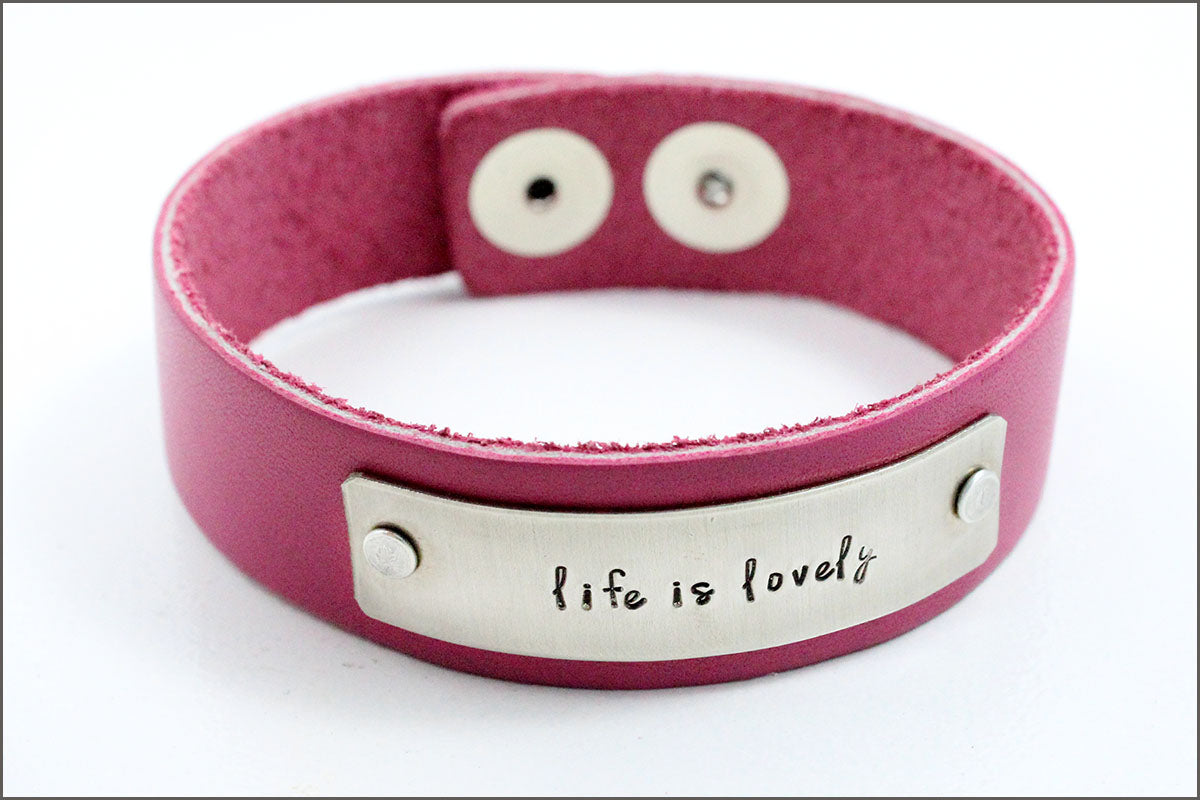 Custom Hand Stamped Leather Bracelet | Life is Lovely, Inspiration Bracelet, Small Gifts for Her, Custom Quote Bracelet, Gift Exchange Ideas